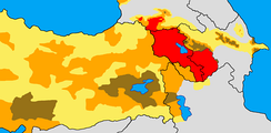Historical and modern distribution of Armenians.Settlement area of Armenians in early 20th century:   >50%       25–50%       <25%   Armenian settlement area today.