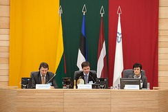 Baltic Assembly session in Seimas Palace, in Vilnius, Lithuania