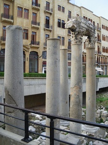 Roman Columns of Basilica near the Forum of Berytus