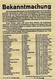 Daily newspapers listed long columns of the names of executed Czech civilians. This issue, from 21 October 1944, lists names of Czechs executed in Prague and Brno for owning firearms. Civilian firearms ownership was banned on the first day of occupation.