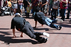 B-boys performing on San Francisco's Powell Street in 2008.