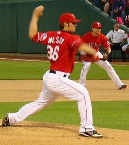 Starting in the majors for the first time since his rookie year, Wilson started the second post-season game for the Rangers