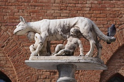 Capitoline Wolf at Siena Duomo. According to a legend Siena was founded by Senius and Aschius, two sons of Remus. When they fled Rome, they took the statue of the She-wolf to Siena, which became a symbol of the town.