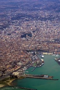 An aerial view of the port of Catania