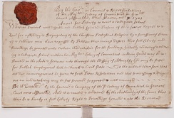 Charter creating the Collegiate School, which became Yale College, October 9, 1701