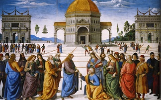 "Pietro Perugino's depiction of the ""Giving of the Keys to Saint Peter"" by Jesus, 1492"