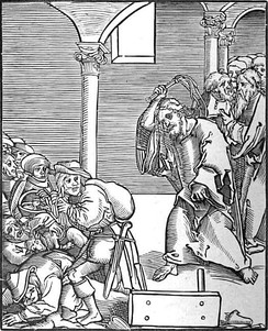Christ drives the Usurers out of the Temple, a woodcut by Lucas Cranach the Elder in Passionary of Christ and Antichrist.[127]