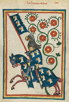 A 14th century depiction of the 13th century German knight Hartmann von Aue, from the Codex Manesse