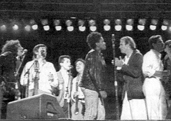 Sting (second from right) at a Human Rights Now! concert in Mendoza, Argentina, October 1988