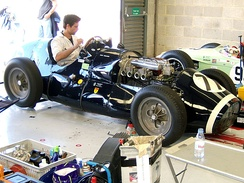 Rob Walker Racing A Type Connaught, the first RWR car, being tuned in the pits.