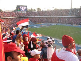 A crowd at Cairo Stadium to watch the Egypt national football team.