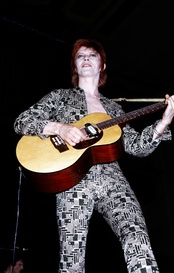 Glam rock pioneer David Bowie in the early 1970s during the Ziggy Stardust and the Spiders Tour.