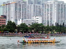 Dragon boat racing, a popular traditional Chinese sport