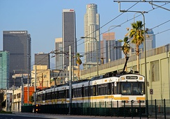 A Metro Expo Line train in Downtown Los Angeles