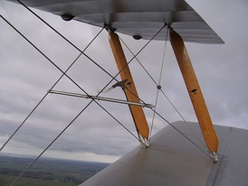 Interplane struts and bracing wires on a de Havilland Tiger Moth
