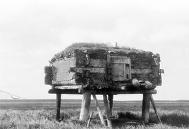 Elevated cache (qulvarvik, qulrarvik, neqivik, enekvak, mayurpik, mayurrvik, ellivik, elliwig) was used to store food where it would be safe from animals. Hooper Bay, Alaska, 1929.