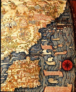 Map of the Iberian Peninsula and Northern Africa (inverted) by Fra Mauro (ca. 1450)