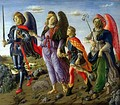 Michael (left) with archangels Raphael and Gabriel, by Botticini, 1470
