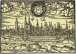 Woodcut showing the town in the year 1585 as viewed from the west.
