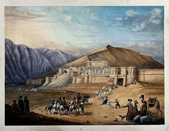 Old painting showing the Great Wall of Kabul