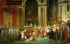 Coronation of Emperor Napoleon I and Coronation of the Empress Josephine in Notre-Dame de Paris, December 2, 1804. Painting by Jacques-Louis David and Georges Rouget