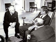 Kennedy with Harold Holt, then Treasurer of Australia, in the Oval Office in 1963.