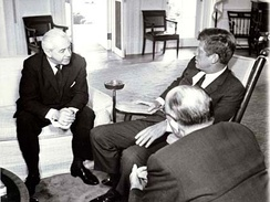 Kennedy with future Australian Prime Minister Harold Holt in the Oval Office in 1963