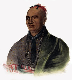 Lithograph of the Mohawk war and political leader Thayendanegea or Joseph Brant