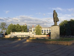 Opticians' Square in Krasnogorsk, with KMZ buildings in the background