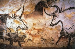 Upper Paleolithic cave painting of a variety of large mammals, Lascaux, c. 17,300 years old