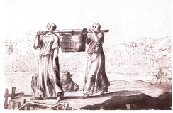 Women's work in the  17thCentury, carrying a communal latrine