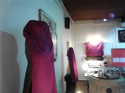 Statues and icons veiled in violet shrouds for Passiontide in St Pancras Church, Ipswich, England