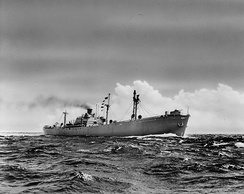A Liberty ship of the type built at Alabama Drydock and Shipbuilding Company during World War II. 20 were completed in Mobile.