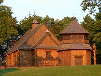 Wooden church in Palūšė. Lithuania has strong Roman Catholic traditions.