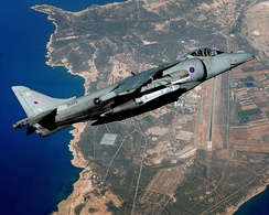 A RAF Harrier GR9 over RAF Akrotiri in 2010.