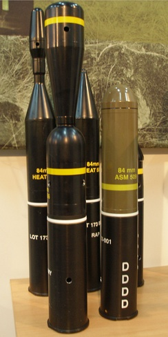 Carl Gustaf recoilless rifle round ammunition on display in 2007.
