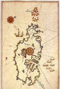 Ottoman map of Malta, by Piri Reis