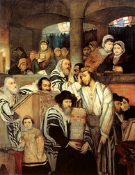 Ashkenazi Jews of late 19th century Eastern Europe portrayed in Jews Praying in the Synagogue on Yom Kippur (1878), by Maurycy Gottlieb