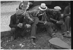Street musicians in Maynardville, Tennessee, photographed in 1935