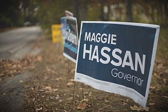 A Maggie Hassan election sign.