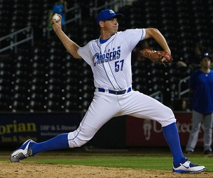 Tepesch pitching for the Omaha Storm Chasers, triple-A affiliates of the Kansas City Royals, in 2016