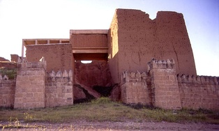 Modern restoration of the Adad gate at Nineveh in a photograph taken prior to the gate's total destruction by ISIL in April 2016.[92] The Book of Jonah exaggerates the size of Nineveh far beyond what it actually was historically.[1][21]