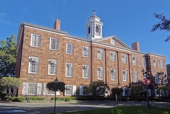 Old Queens, the oldest building at Rutgers University in New Brunswick, New Jersey, built between 1809–1825. Old Queens houses much of the Rutgers University administration.