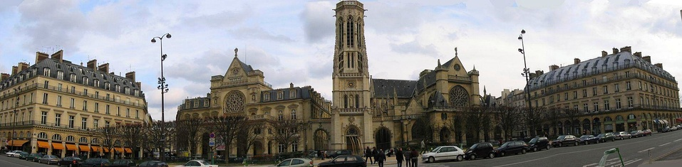 Panorama of the church of Saint-Germain l'Auxerrois and the Place du Louvre.