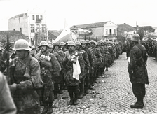 Bulgarian paratroopers entering Kumanovo in Macedonia in November 1944.