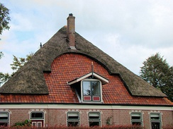 Farm-house in the Netherlands near Alkmaar. The combination of thatch and roof tiles is quite common in that area.