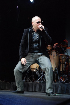 Pitbull performing at the Allstate Arena, B96 Jingle Bash, Chicago
