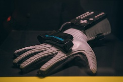A Power Glove in the collection of the Video Game Museum, Berlin, Germany.