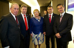 Bloomberg with presidents of Colombia, Chile, Peru and Mexico in 2014
