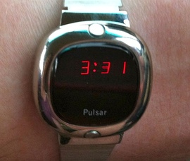 A silver Pulsar LED watch from 1976.